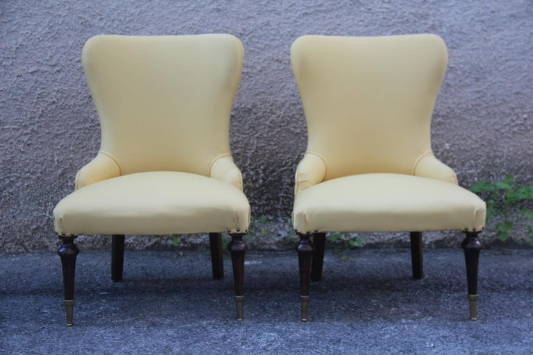 Pair of Chairs Mid-Century Modern Italian Design Yellow Color Wood Brass Feet For Sale 9