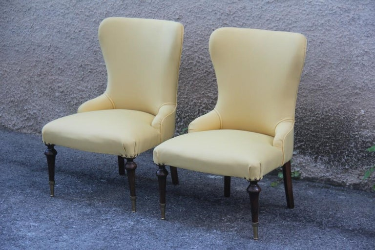 Pair of Chairs Mid-Century Modern Italian Design Yellow Color Wood Brass Feet For Sale 10