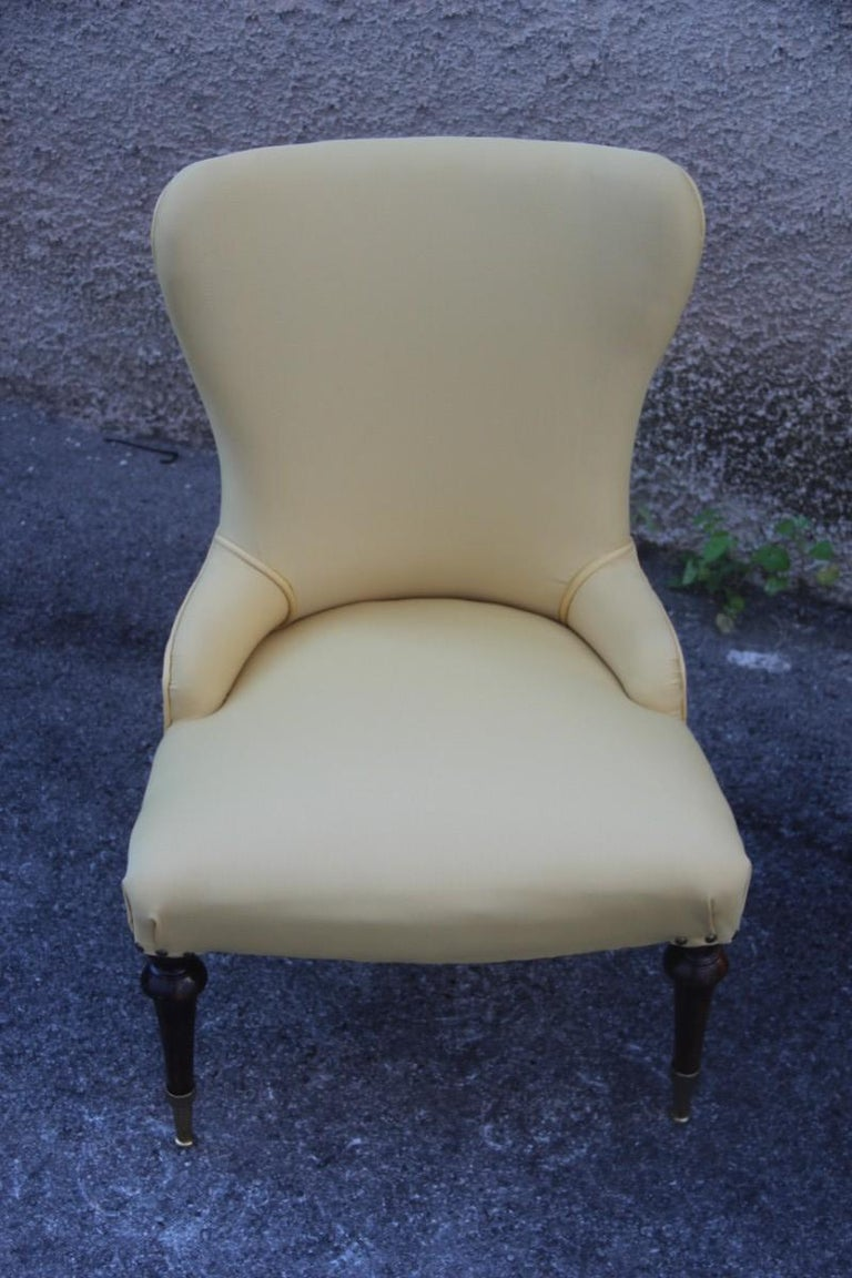 Pair of Chairs Mid-Century Modern Italian Design Yellow Color Wood Brass Feet In Good Condition For Sale In Palermo, Sicily