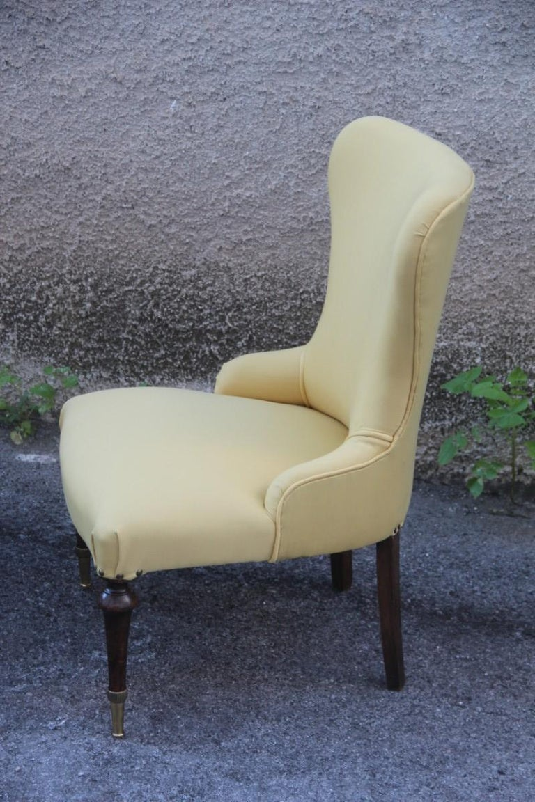 Mid-20th Century Pair of Chairs Mid-Century Modern Italian Design Yellow Color Wood Brass Feet For Sale