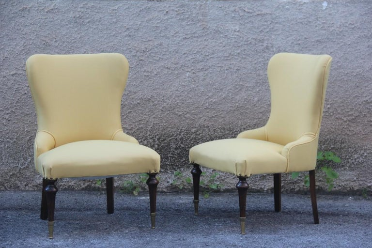 Pair of Chairs Mid-Century Modern Italian Design Yellow Color Wood Brass Feet For Sale 1