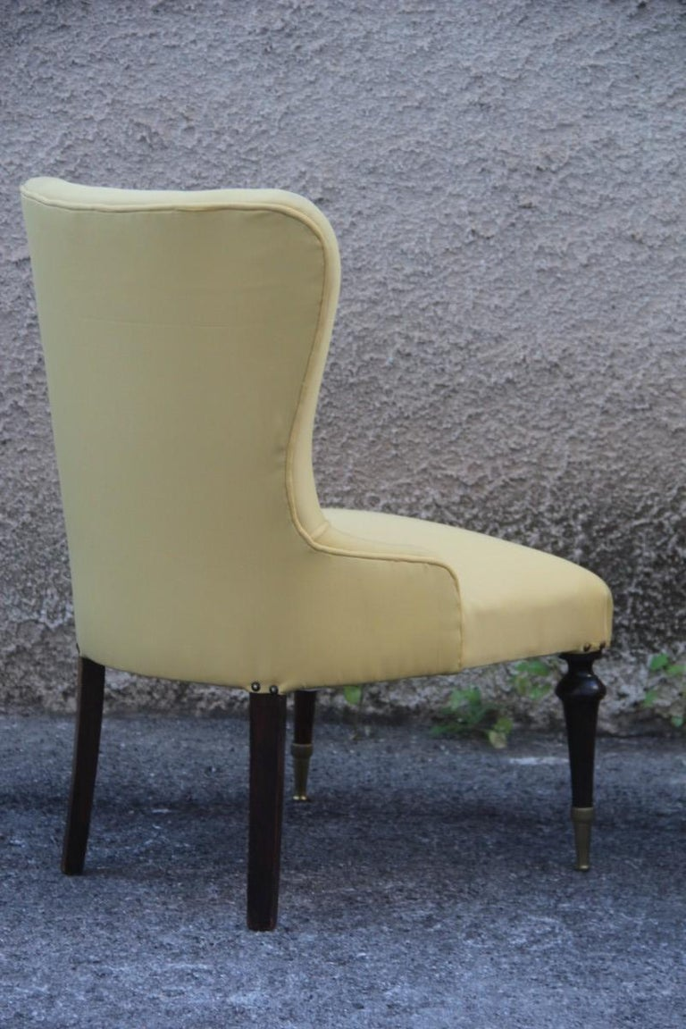 Pair of Chairs Mid-Century Modern Italian Design Yellow Color Wood Brass Feet For Sale 4