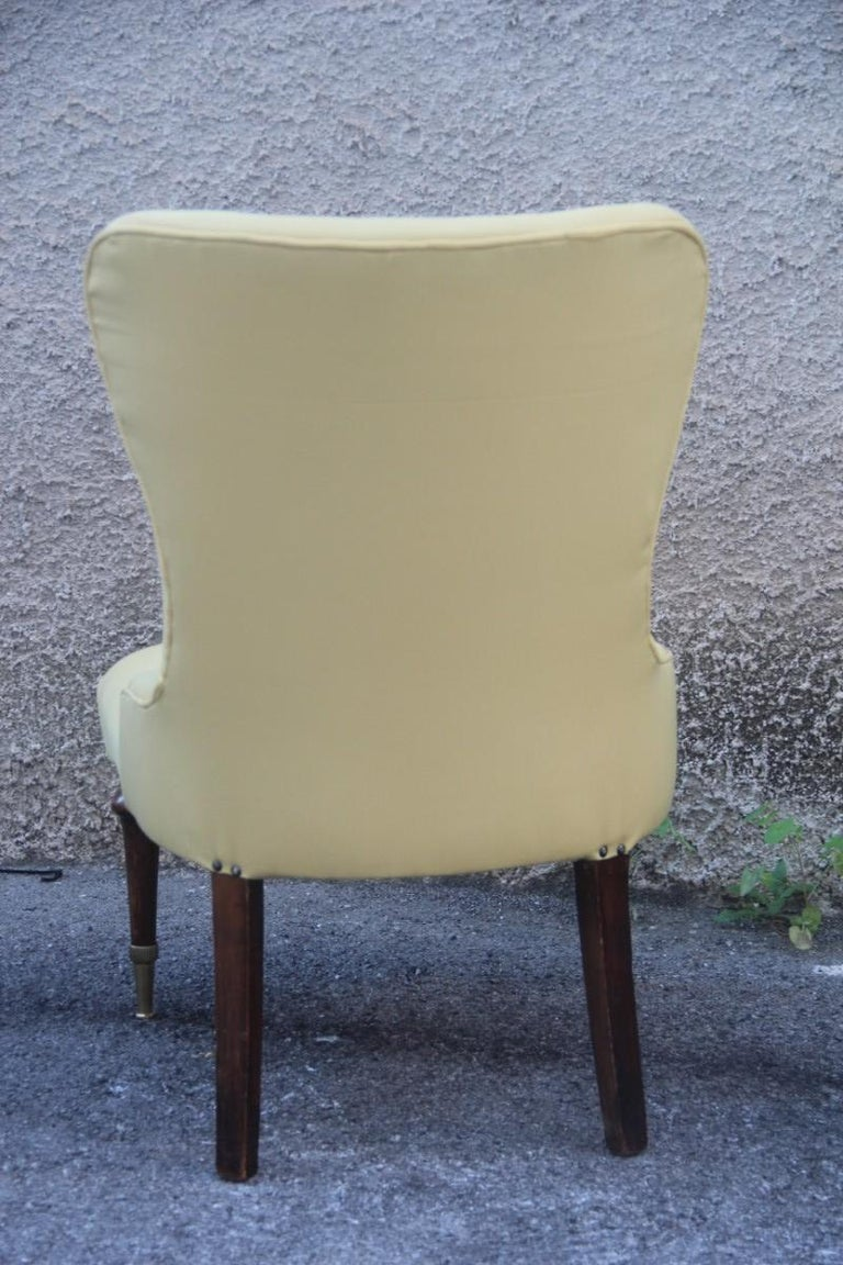 Pair of Chairs Mid-Century Modern Italian Design Yellow Color Wood Brass Feet For Sale 5
