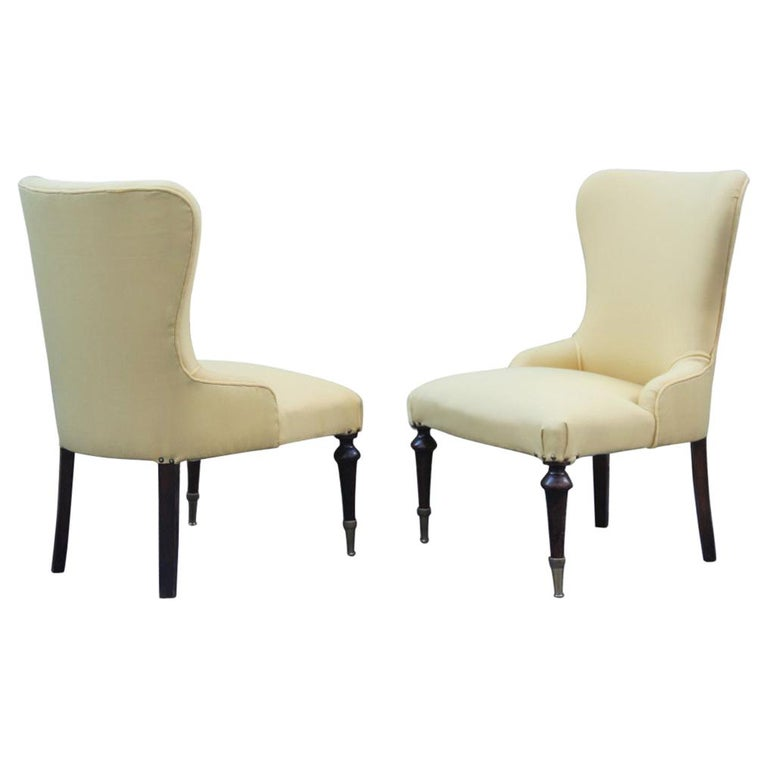 Pair Of Chairs Mid Century Modern Italian Design Yellow Color Wood Br Feet For
