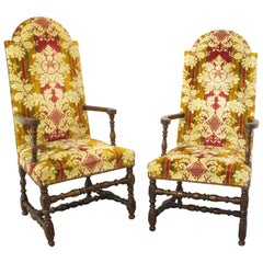 Pair of Chairs Open Armchairs French 18th Century Louis XIII
