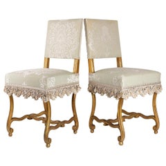 Pair of Chairs, Sheep Bones, Carved and Gilded Wooden, Napoleon III Period