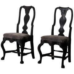 Pair of Chairs Swedish Black Rococo, 18th Century, Sweden