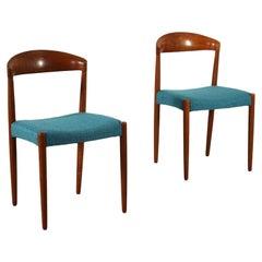 Pair of Chairs Teak Fabric Foam, 1960s