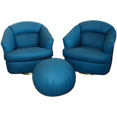 Pair of Chairs with Ottoman from Directional