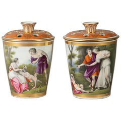 Pair of Chamberlains Worcester Orange and Gilt Ground Bough Pots, circa 1800