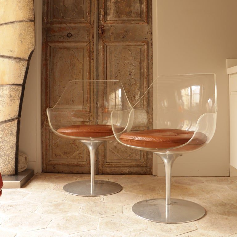 European Pair of Champagne Chairs, Estelle and Erwin Laverne For Sale