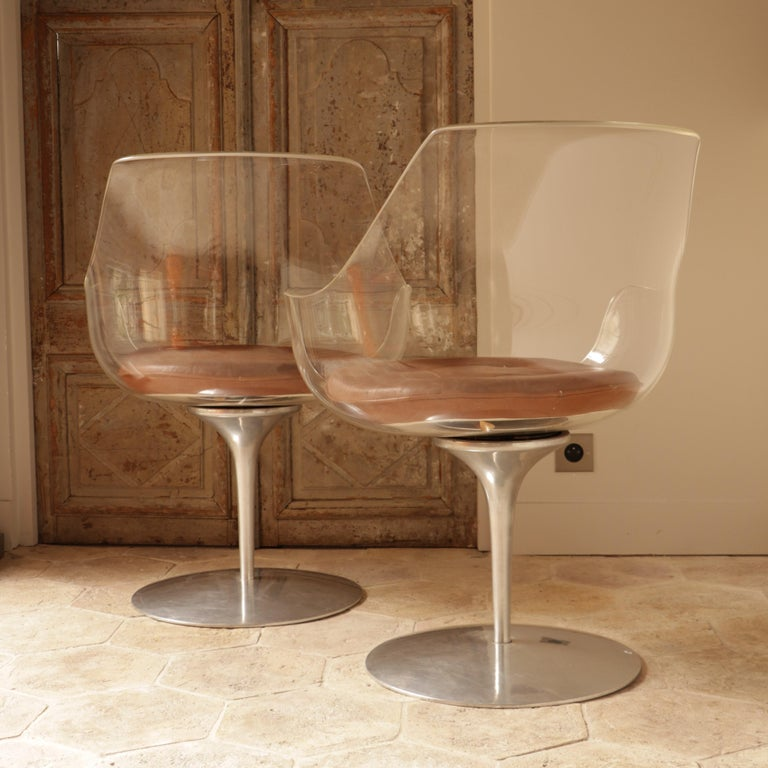 Plexiglass Pair of Champagne Chairs, Estelle and Erwin Laverne For Sale