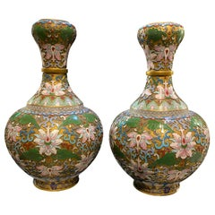 Pair of Champleve Cloisonne Antique Vases Green and Pink Flowers, 19th Century