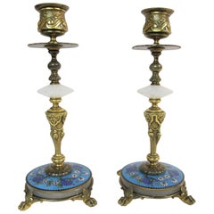 Pair of Champlevé Enamels and Gilt Bronze Candlesticks Marked H. Journet