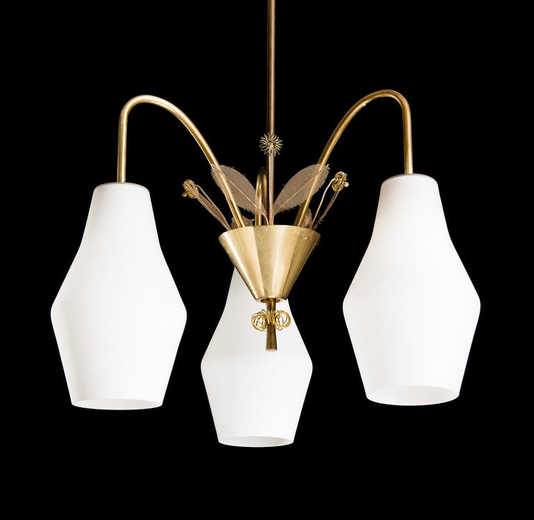 Scandinavian Modern Pair of Chandelier by Paavo Tynell For Sale