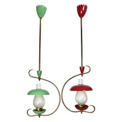 Pair of Chandelier Pendant Brass and Green and Red Metal Mushrooms, Italy, 1950s