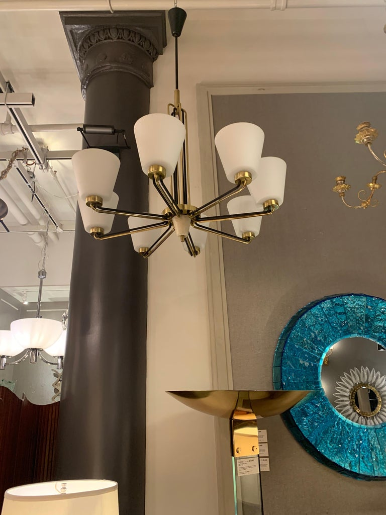 Italian Pair of Chandeliers by Stilnovo Italy, 1950s For Sale