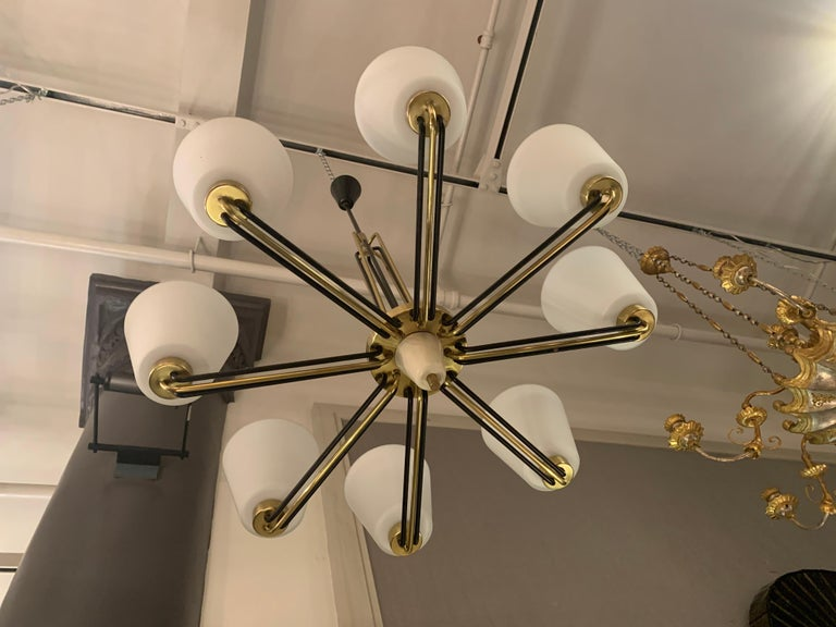 Pair of Chandeliers by Stilnovo Italy, 1950s In Good Condition For Sale In New York, NY