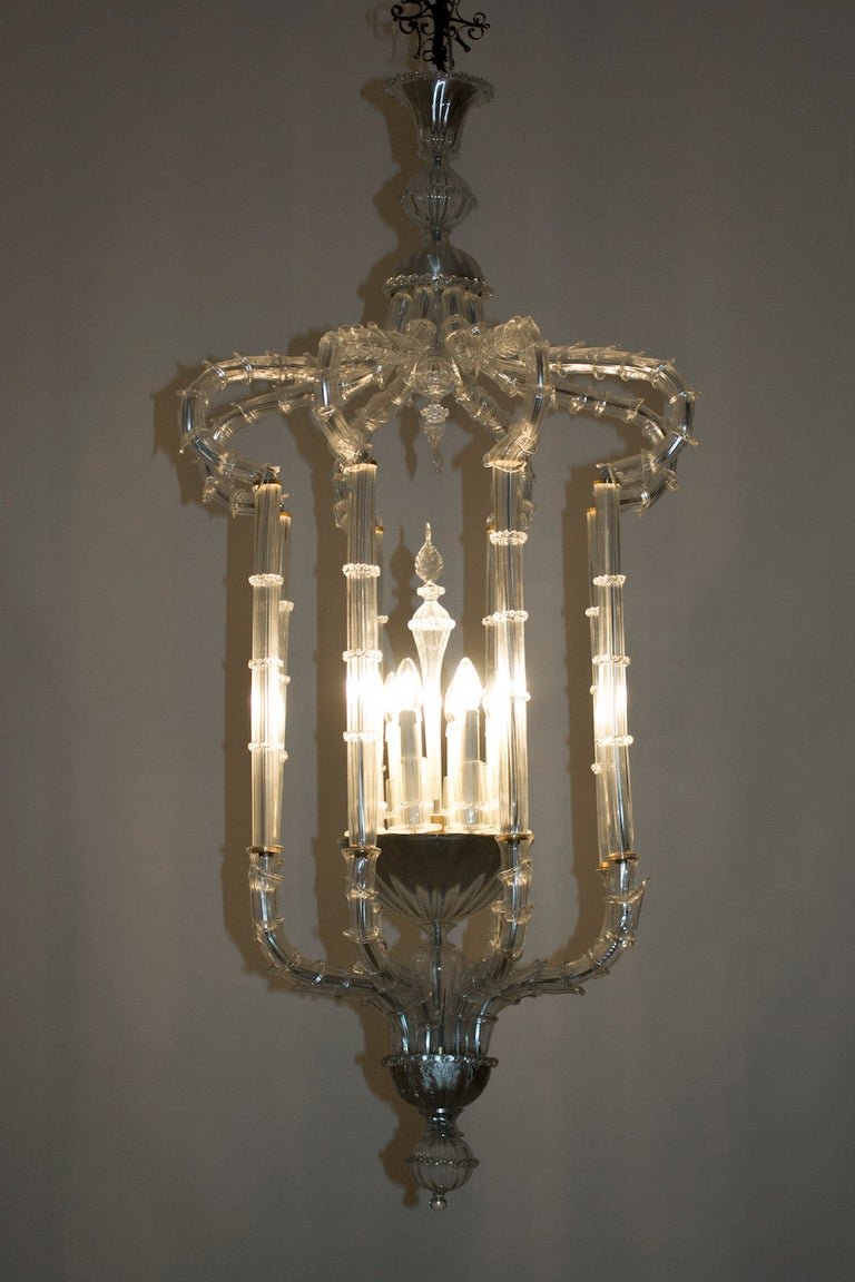 Pair of Chandeliers Cesendello Clear Color in Blown Murano Glass, Italy, 1950s 4