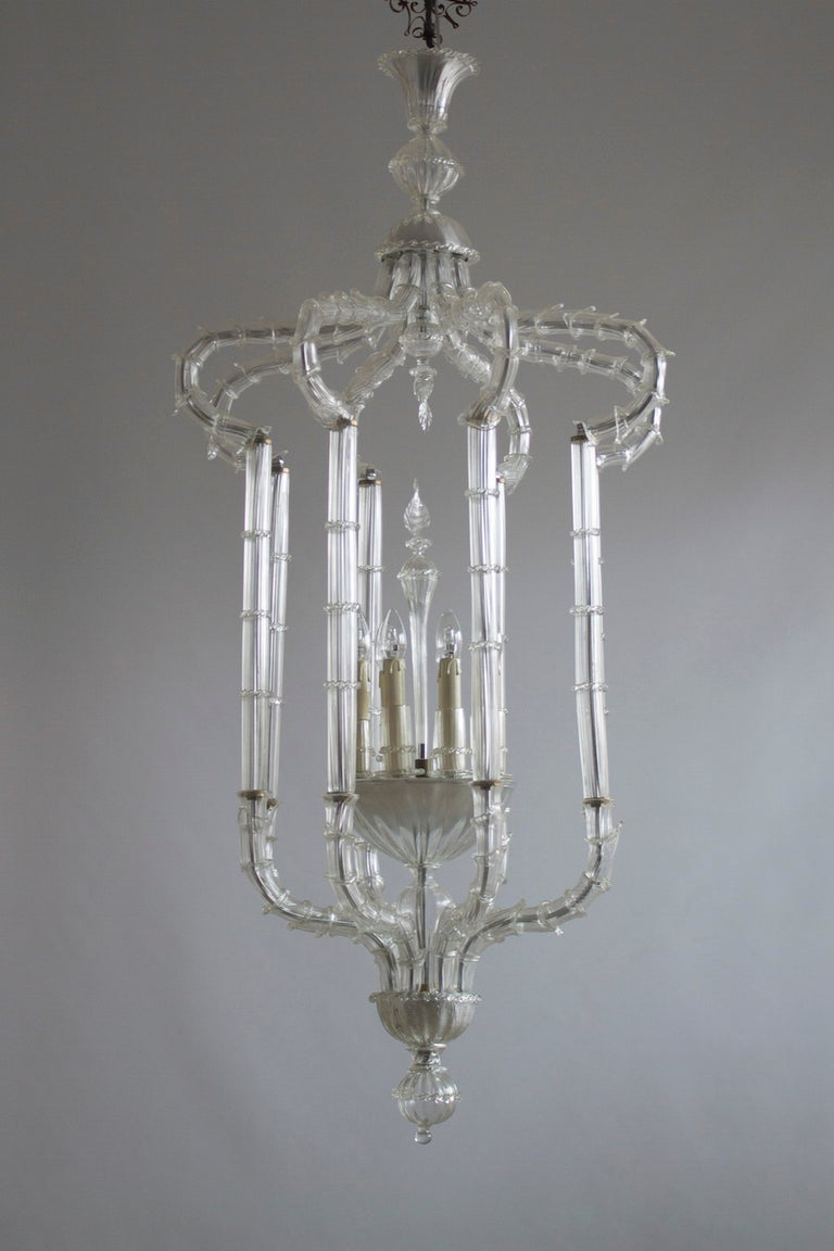 Baroque Revival Pair of Chandeliers Cesendello Clear Color in Blown Murano Glass, Italy, 1950s