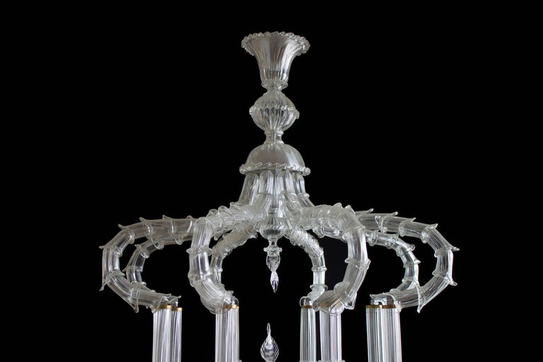Pair of Chandeliers Cesendello Clear Color in Blown Murano Glass, Italy, 1950s 2