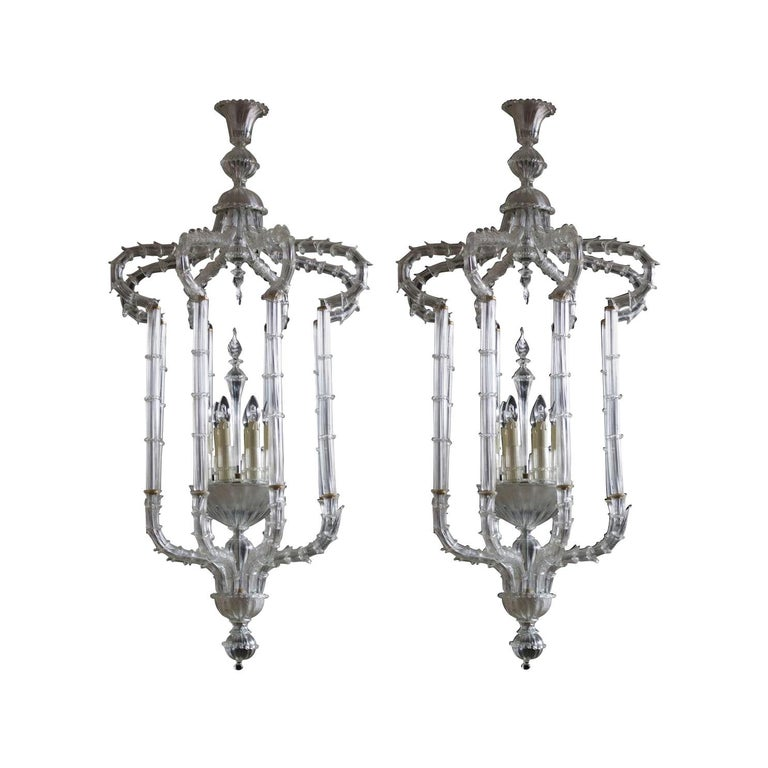 Pair of Chandeliers Cesendello Clear Color in Blown Murano Glass, Italy, 1950s