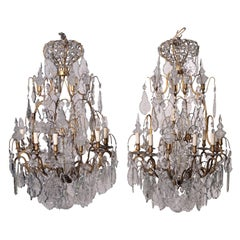 Pair of Chandeliers Glass Bronze, Italy, Late 19th Century