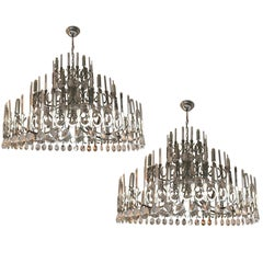 Pair of Chandeliers Ovali by Sciolari, Italy, 1970s