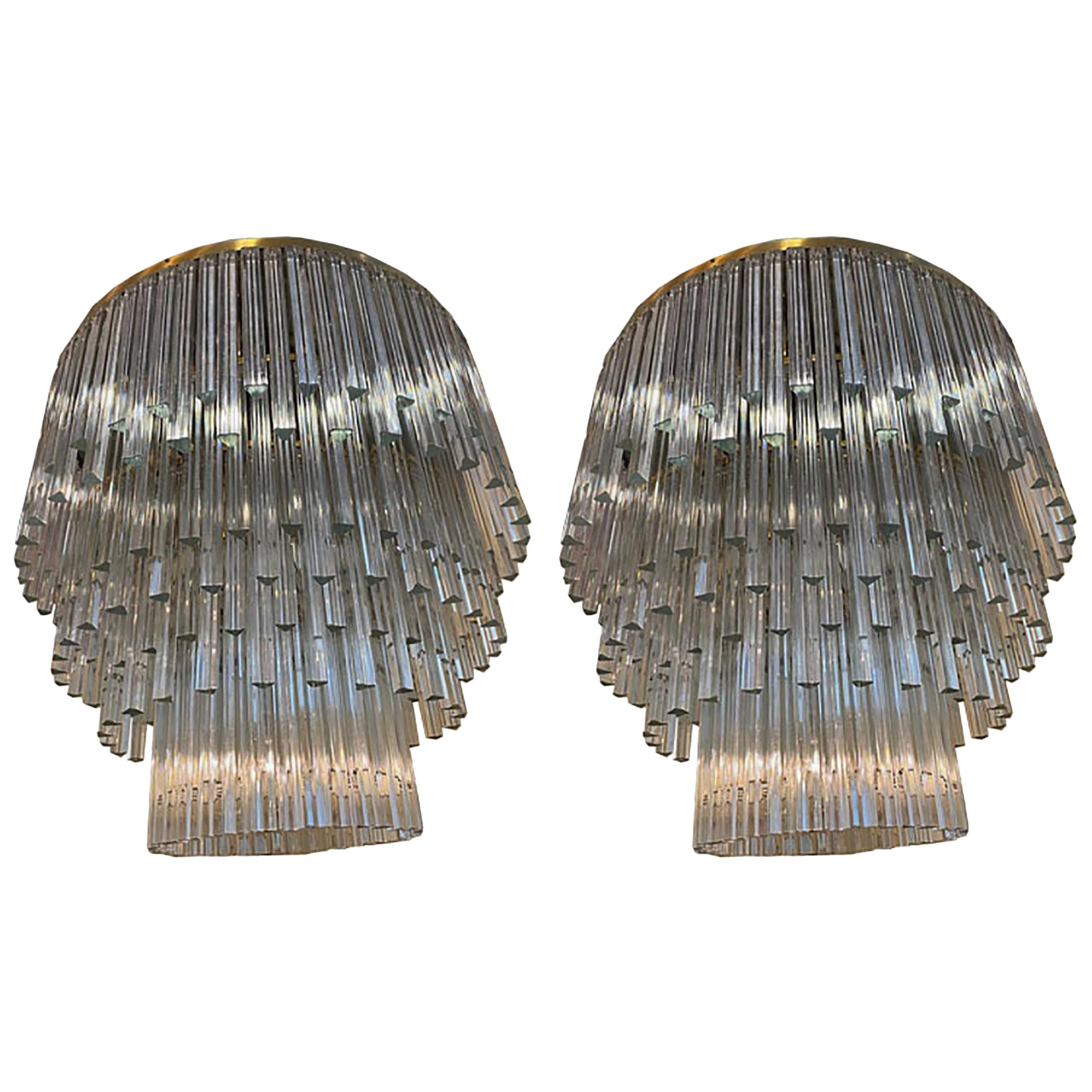 Pair of Chandeliers Venini Style Transparent Prism Triedri, Murano, 1990