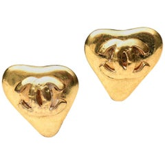 Pair of Chanel CC Heart Clip On Earrings