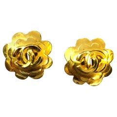 Pair of Chanel Gold Toned Camillia Earclips Clip On Earrings