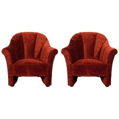 Pair of Channel Back Lounge Chairs in Smoked Ruby Velvet by Josef Hoffman
