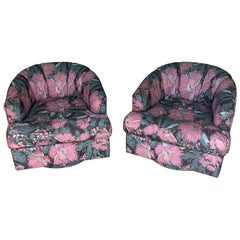 Pair of Channel Back Upholstered Swivel Club Chairs