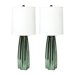 Pair of Channel Form Handblown Murano Iridiscent Viridian Green Table Lamps