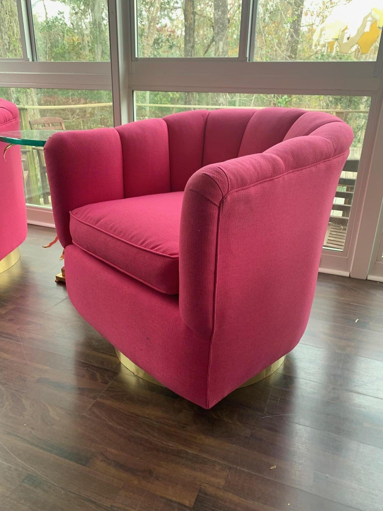 beautiful swivel club chairs | Pair of Channel Tufted Swivel Club Chairs in the Manner of ...
