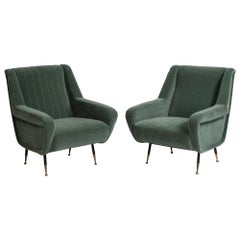 Pair of Channeled Mohair Armchairs