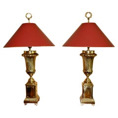 Pair of Chapman Art Deco Style Tall Brass Table Lamps Original Finials