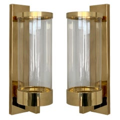 Pair of Chapman Brass and Glass Candle Wall Sconces