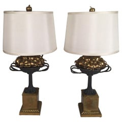 Pair of Chapman Brass and Iron Lamps