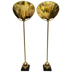 Pair of Chapman Brass Palm Frond Floor Lamps