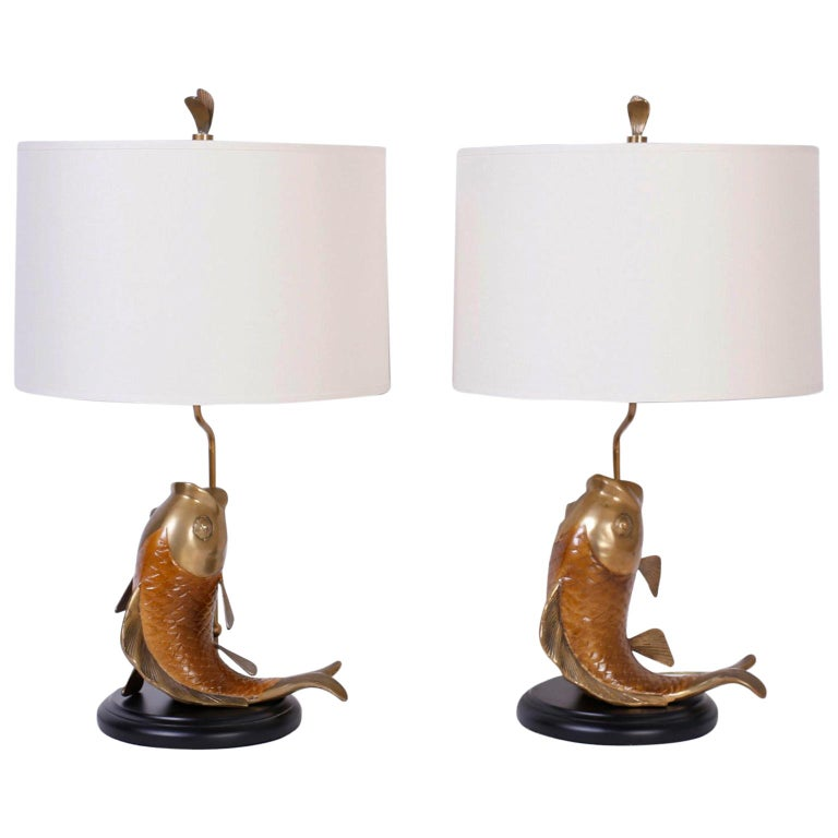 19778f3ed6f29 Pair of Chapman Carp or Fish Table Lamps For Sale at 1stdibs