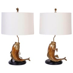 Pair of Chapman Carp or Fish Table Lamps