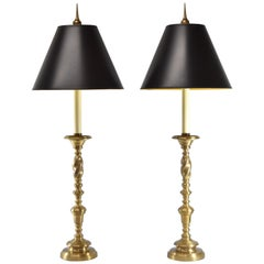 Pair of Chapman Rope Twist Stem Brass Buffet Lamps