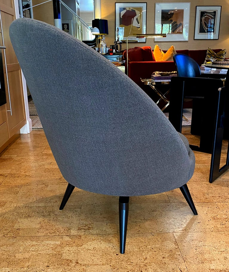 American Pair of Charcoal Gray Swivel Chairs For Sale
