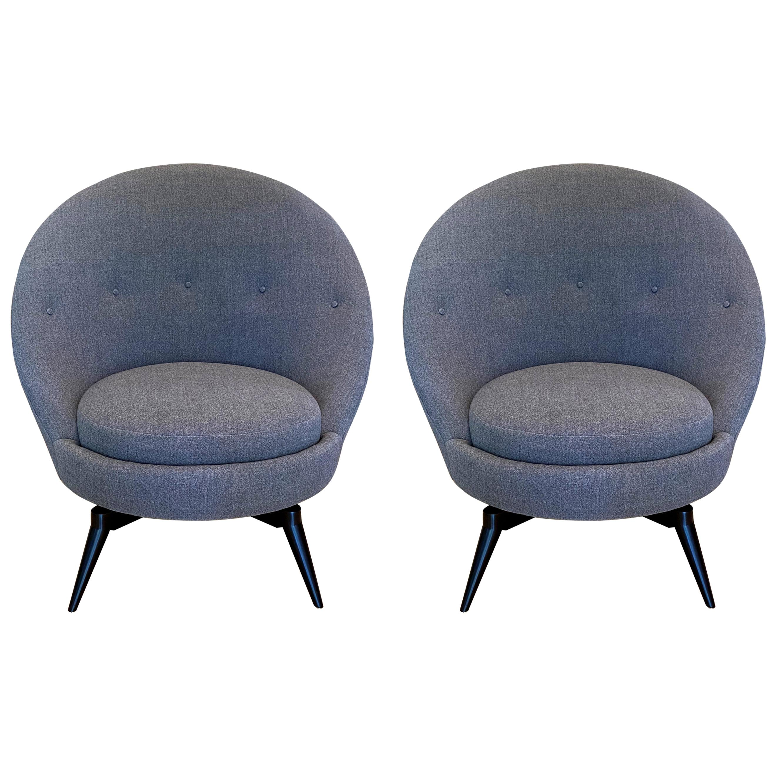 Pair of Charcoal Gray Swivel Chairs
