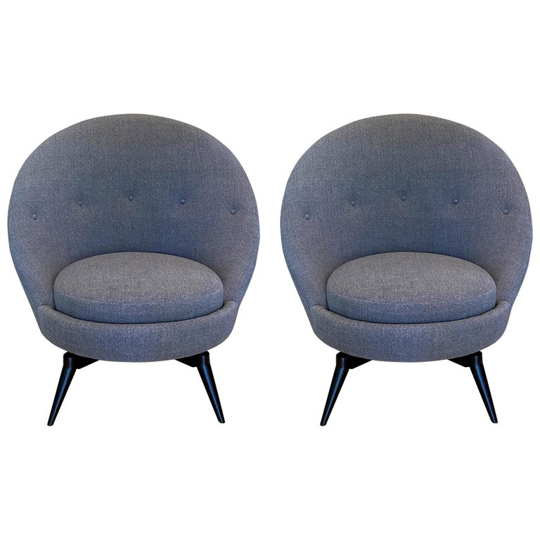 Pair of Charcoal Gray Swivel Chairs For Sale