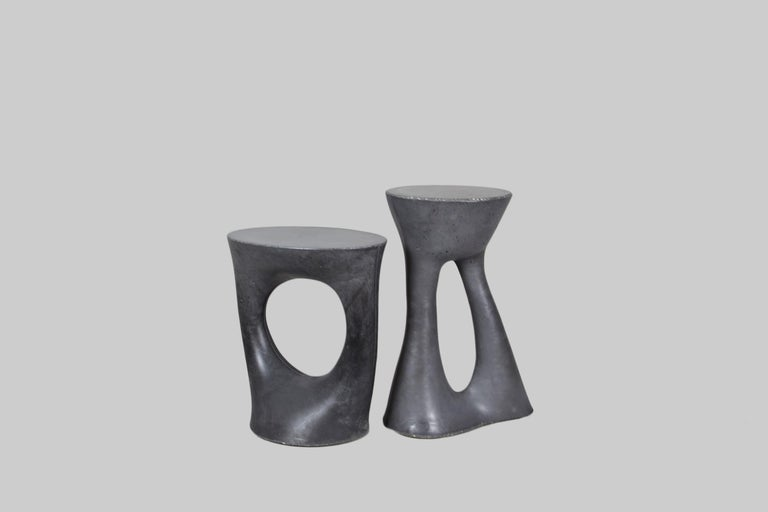 American Pair of Charcoal Short Kreten Side Tables from Souda, Made to Order For Sale