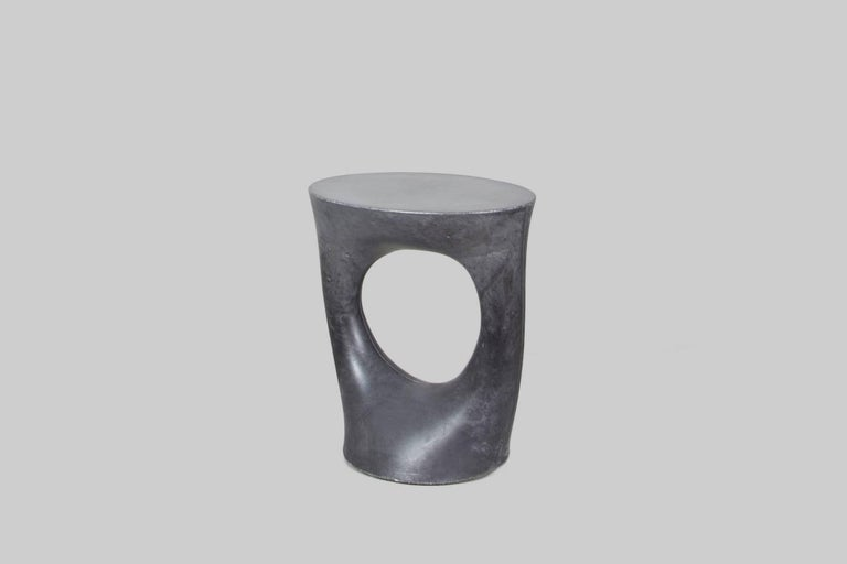 Modern Pair of Charcoal Short Kreten Side Tables from Souda, Made to Order For Sale