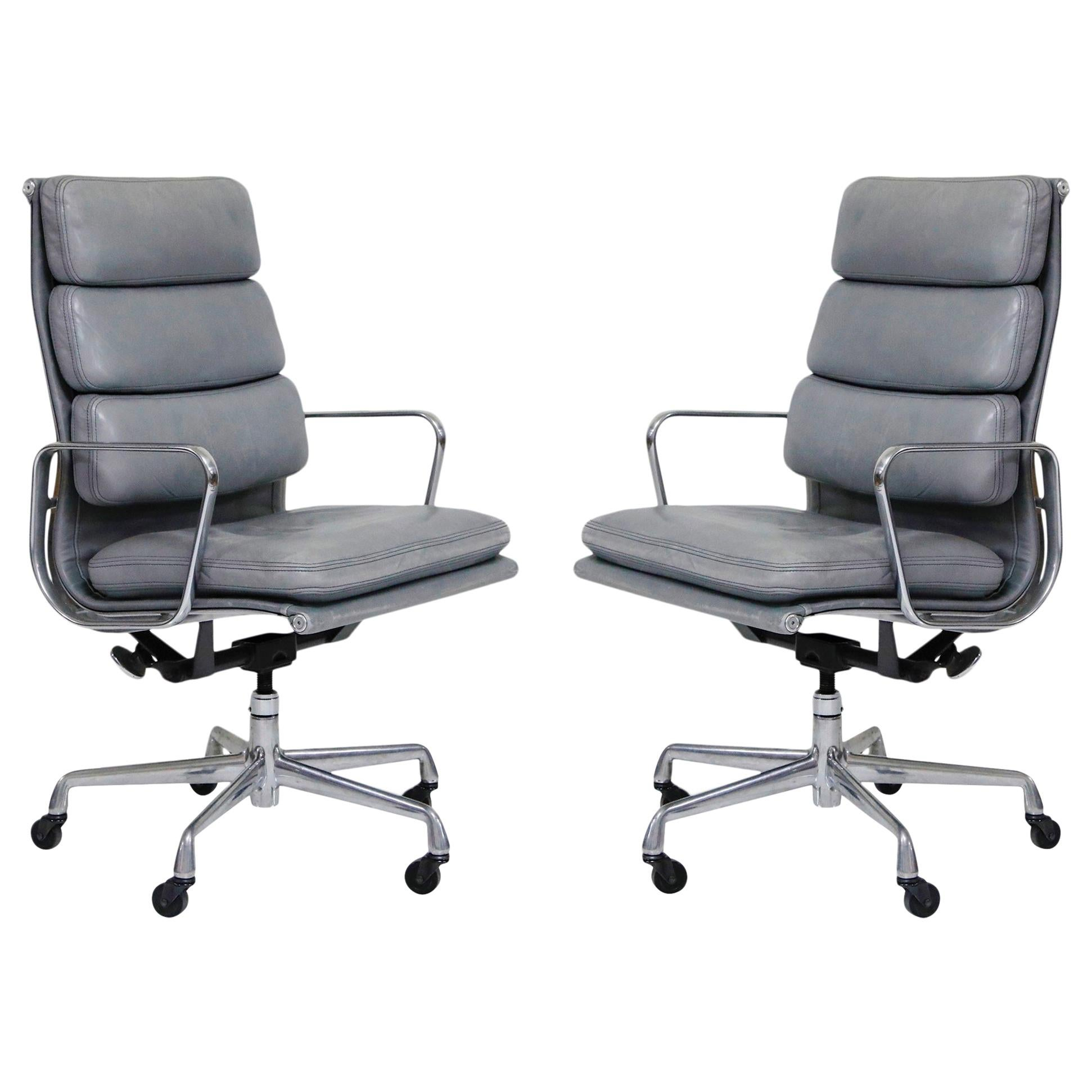 Pair Of Charles And Ray Eames For Herman Miller Soft Pad Executive Desk  Chairs