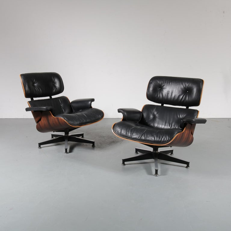A pair of very rare and much sought after pair of lounge chairs designed by Charles and Ray Eames, manufactured by Herman Miller, circa 1970.